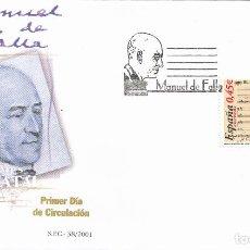 Sellos: 2001 ESPAÑA ED 3838 MANUEL DE FALLA MÚSICA SPD BUEN ESTADO (FDC) (EDIFIL). Lote 269598693