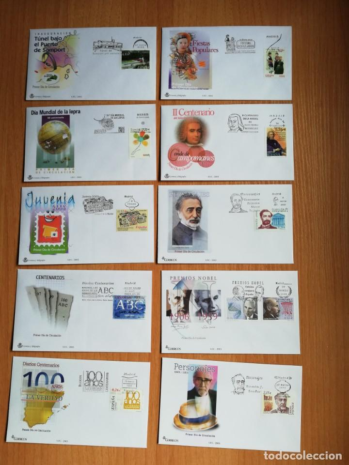 AÑO COMPLETO 2003 SOBRES DE PRIMER DÍA FDC GRAN OCASION Y OFERTA ÚNICA(CON ÁLBUM Y HOJAS) (Sellos - España - Juan Carlos I - Desde 2.000 - Cartas)