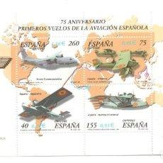 Sellos: HOJITA SELLOS 75 ANIVERSARIO AVIACION ESPAÑOLA (FACIAL 3,18 €). Lote 260075425