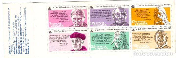 CARNÈ Nº 2860C** DESCUBRIMIENTO DE AMERICA NUEVO (Sellos - España - Juan Carlos I - Desde 1.986 a 1.999 - Nuevos)