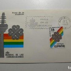 Sellos: ESPAÑA 1983 - SPD - FDC AÑO MUNDIAL COMUNICACIONES - EDIFIL Nº 2709 - MATASELLOS BARCELONA. Lote 261183955