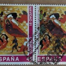 Sellos: DOS SELLOS ESPAÑA NAVIDAD 1991. EDIFIL 3143. Lote 261252315