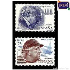 Sellos: ESPAÑA 2001. EDIFIL 3783-84 3784. PERSONAJES POPULARES, ALBERTI Y JOAQUIMN RODRIGO. NUEVO** MNH. Lote 261626810