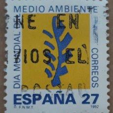 Sellos: SELLO ESPAÑA 1992 EDIFIL 3210. DIA MUNDIAL DEL MEDIO AMBIENTE. USADO. Lote 262193945