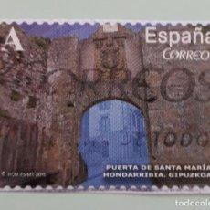 Sellos: SELLO DE ESPAÑA 2015. EDIFIL 4926. PUERTA DE SANTA MARÍA. HONDARRIBIA (GUIPÚZCOA). USADO. Lote 262752600