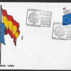 Sellos: SOBRE EXPOSICIO NULES MUNICIPI D´EUROPA, 8-10 DEC 1989, FOTO ORIGINAL. Lote 263071420