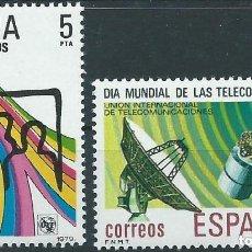 Sellos: ESPAÑA 1979 (2522-2523) DIA MUNDIAL DE LAS TELECOMUNICACIONES (NUEVO). Lote 263149560