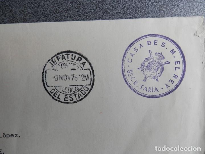 Sellos: SOBRE CON FRANQUICIA CASA DE S. M. EL REY AÑO 1976 JEFATURA DEL ESTADO - Foto 2 - 264770504