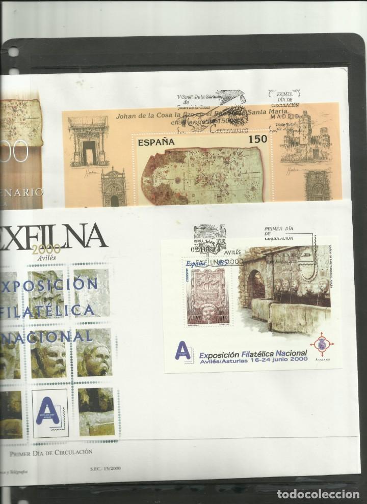 DOS SOBRES CON HOJAS BLOQUE DE PRIMER DIA DEL AÑO 2.000 (Sellos - España - Juan Carlos I - Desde 2.000 - Cartas)