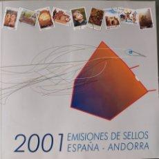 Sellos: EMISIÓN DE SELLOS DE ESPAÑA Y ANDORRA 2001 LIBRO ÁLBUM. Lote 267194104