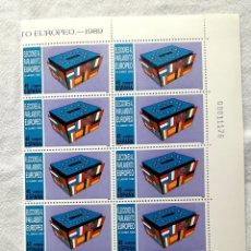 Sellos: 1989 EDIFIL 3015 ELECCIONES AL PARLAMENTO EUROPEO BLOQUE DE 12 SELLOS **. Lote 267592089