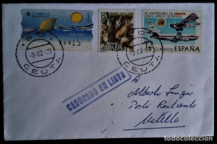 CEUTA S.D. 1999 CADUCADO EN LISTA SEVILLA (Sellos - España - Juan Carlos I - Desde 1.986 a 1.999 - Cartas)