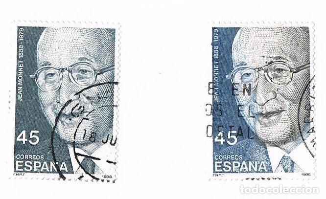 SELLO EDIFIL ESPAÑA CIRCULADO/USADO 2931CC VARIEDAD DE COLOR JEAN MONNET 1988 45 PESETAS (Sellos - España - Juan Carlos I - Desde 1.986 a 1.999 - Usados)