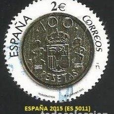 Selos: ESPAÑA 2015 - ES 5011 - NUMISMATICA 100 PESETAS (VER IMAGEN) - 1 SELLO USADO. Lote 268923894