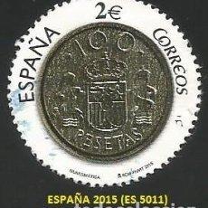 Selos: ESPAÑA 2015 - ES 5011 - NUMISMATICA 100 PESETAS (VER IMAGEN) - 1 SELLO USADO. Lote 268923969