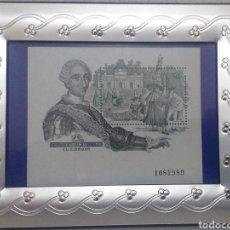 Sellos: BONITO SELLO ESPAÑA NUMERADO CARLOS III MARCO NUEVO PLATEADO METALICO PRECIOSO. Lote 272563958