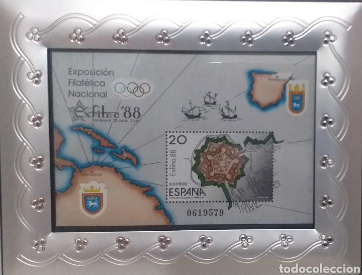 BONITO SELLO ESPAÑA NUMERADO MARCO NUEVO PLATEADO METALICO PRECIOSO (Sellos - España - Juan Carlos I - Desde 1.986 a 1.999 - Nuevos)