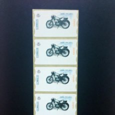 Sellos: ESPAÑA.AÑO 2001./MOTOCICLETAS CLASICAS./TIRA DE 5 ETIQUETAS POSTALES NUEVAS Y LIMPIAS (ATMS ).. Lote 272751238