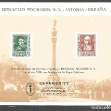 Timbres: ESPAÑA HOJA ESPAMER´77 NUEVA NUMERADA AL DORSO. Lote 275925118