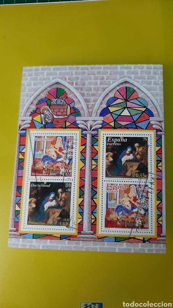 USADA HOJA BLOQUE EDIFIL 3837 NAVIDAD 2001 ESPAÑA/ALEMANIA CONJUNTA (Sellos - España - Juan Carlos I - Desde 2.000 - Usados)