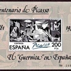 Sellos: HOJITA POSTAL «EL GUERNICA EN ESPAÑA» - 1981 - EDIFIL 2631 - NUEVO, ✶✶. Lote 277017808