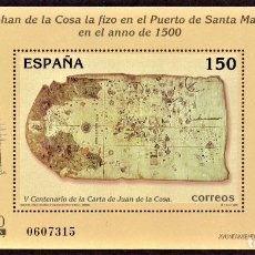 Sellos: HOJITA POSTAL «V CENTENARIO DE LA CARTA DE JUAN DE LA COSA» - 2000 - EDIFIL 3722 - NUEVO, ✶✶. Lote 277033273