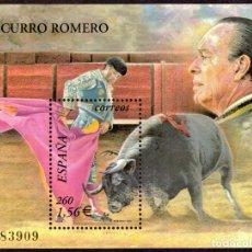 Sellos: HOJITA POSTAL «TOROS: CURRO ROMERO» - 2001 - EDIFIL 3834 - NUEVO, ✶✶. Lote 277048943