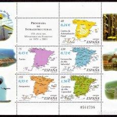 Sellos: HOJITA POSTAL «150 AÑOS DEL MINISTERIO DE FOMENTO» - 2001 - EDIFIL 3855 - NUEVO, ✶✶. Lote 277051093