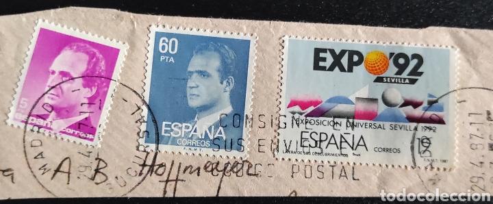 3 SELLOS USADOS. 5 PESETAS JUAN CARLOS I, 1985. EDIFIL 2795. 60, 1981. 2602. EXPO 92. 2875 (Sellos - España - Juan Carlos I - Desde 1.986 a 1.999 - Usados)