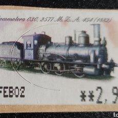 Sellos: ETIQUETA ATM USADA. LOCOMOTORA 030 2103. NORTE 1405 (1861). Lote 277175038