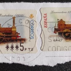 Sellos: ETIQUETAS ATM USADAS LOCOMOTORA 120 MADRILEÑA (1851). Lote 277192563