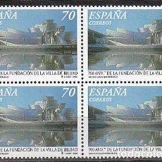 Sellos: EDIFIL Nº 3714, 7º CENTENARIO DE BILBAO (MUSEO GUGGENHEIM), NUEVO *** EN BLOQUE DE 4. Lote 277765028