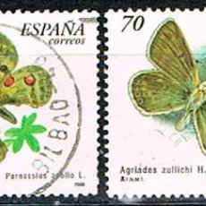 Sellos: EDIFIL 3694/5, MARIPOSA APOLO (PARNASSIUS APOLLO), USADO, SERIE COMPLETA. Lote 277821808