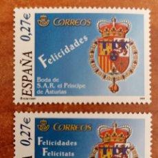 Timbres: ESPAÑA N°4083/84 MNH** BODA REAL 2004 (FOTOGRAFÍA REAL). Lote 278213523