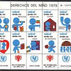 Sellos: ESPAÑA HOJA CON 10 VIÑETAS DE LA XII FERIA NACIONAL DEL SELLO - DERECHOS DEL NIÑO 1979 - UNICEF. Lote 278299088