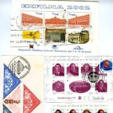 Sellos: TRES HOJITAS BLOQUE AÑO 2001 Y 2002 CON MATASELLOS Y CUATRO SELLOS SOBRE PAPEL-LEER DESCRIPCION .. Lote 278368148