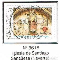 Sellos: EDIFIL Nº 3618, AÑO SANTO COMPOSTELANO 1999, IGLESIA DE SANTIAGO EN SANGÜESA NAVARRA), USADO. Lote 278386128