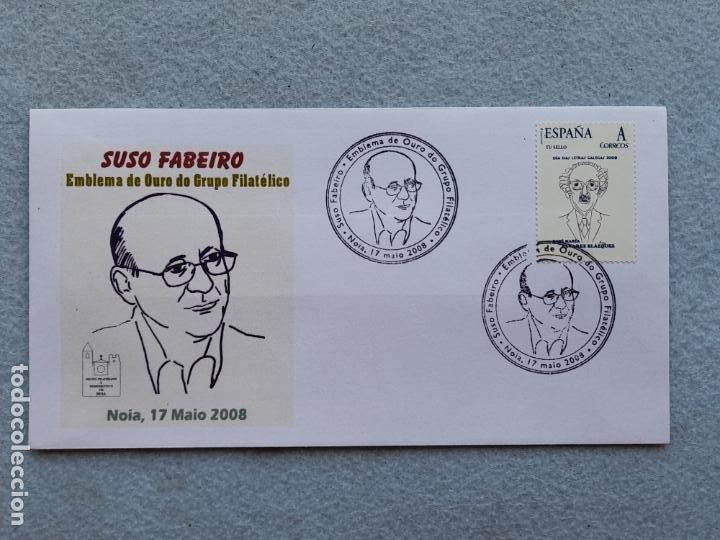 SOBRE NOIA, 17 MAIO DE 2008. SUSO FABEIRO. EMBLEMA DE OURO DO GRUPO FILATÉLICO. (Sellos - España - Juan Carlos I - Desde 2.000 - Cartas)