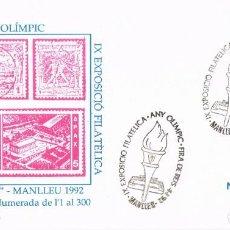 Sellos: 0957. CARTA MANLLEU (BARCELONA) 1992. AÑO OLIMPICO, ANTORCHA. Lote 286246968