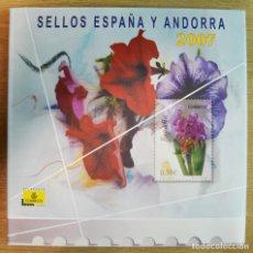 Sellos: CORREOS - ÁLBUM EMISIONES DE SELLOS 2007 ESPAÑA - ANDORRA - COMPLETO CON SELLOS. Lote 286639363