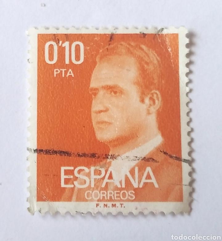 SELLO ESPAÑA 0,10 PESETAS JUAN CARLOS I AÑO 1977 USADO NARANJA (Sellos - España - Juan Carlos I - Desde 1.975 a 1.985 - Usados)