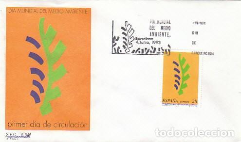 EDIFIL 3263, DIA MUNDIAL DEL MEDIO AMBIENTE, PRIMER DIA DE 4-6-1993 SFC (Sellos - España - Juan Carlos I - Desde 1.986 a 1.999 - Usados)