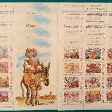 Sellos: ESPAÑA, SPAIN, AÑO 1992, EDIFIL 3560/83, MP 61A/61B, EL QUIJOTE, 4 JUEGOS MINIPLIEGOS A VALOR FACIAL. Lote 288381843