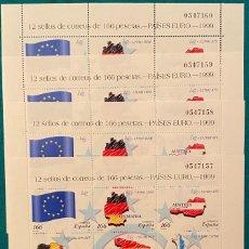 Sellos: ESPAÑA, SPAIN, AÑO 1999, EDIFIL 3632/43, MP 63, PAISES DEL EURO, 4 MINIPLIEGOS A VALOR FACIAL. Lote 288389228