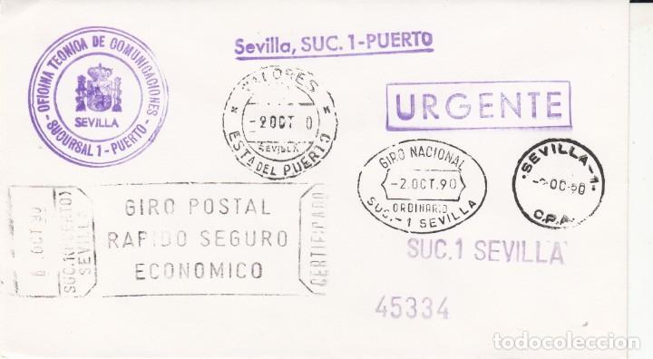 SOBRE CON LOS 8 MATASELLOS DISTINTOS DE SEVILLA- 1990 (Sellos - España - Juan Carlos I - Desde 1.986 a 1.999 - Cartas)
