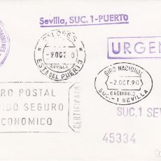 Sellos: SOBRE CON LOS 8 MATASELLOS DISTINTOS DE SEVILLA- 1990. Lote 288930468