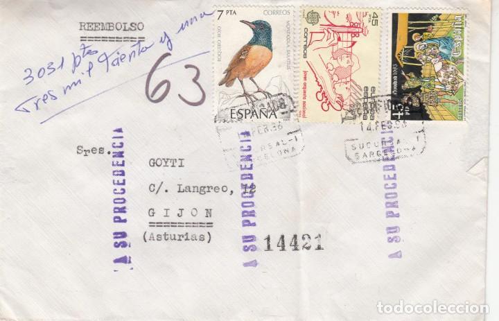 CARTA CONTRA REEMBOLSO DEVUELTA A ORIGEN - VER DORSO -- (Sellos - España - Juan Carlos I - Desde 1.986 a 1.999 - Cartas)