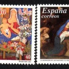 Sellos: ESPAÑA N°3835/36 MNH** NAVIDAD 2001 (FOTOGRAFÍA REAL). Lote 289701458