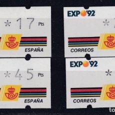 Sellos: EXPO 92 ETIQUETAS KLUSSERDORF CUATRO VALORES NUEVOS. Lote 289849623