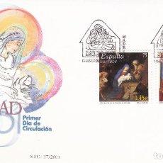 Sellos: SOBRE CON MATASELLOS PRIMER DIA DE NAVIDAD 2001 Nº 3835/36. Lote 290562753